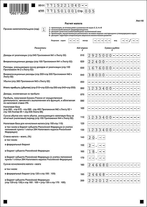 Сумма перечисленных платежей в декларации по налогу на прибыль