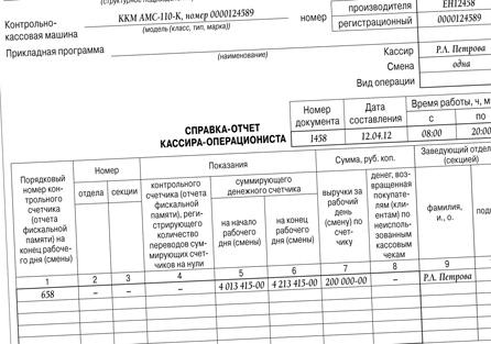 Образец заполнения Справки Кассира-операциониста